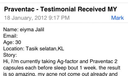 PRAVENTAC™ customer review by Eiyma Jalil, 30, Tasik Selatan, KL, Malaysia